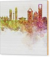Riyadh Skyline In Watercolour On White Background Wood Print