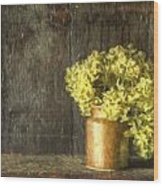 Rmonet Style Digital Painting Etro Style Still Life Of Dried Flowers In Vase Against Worn Woo Wood Print