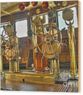 Rms Queen Mary Bridge Well-polished Brass Annunciator Controls And Steering Wheels Wood Print