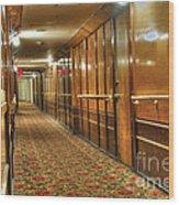 Rms Queen Mary Passenger Hallway Passageway  Wood Print