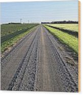 Road Across North Dakota Prairie Wood Print