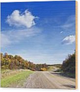 Road Approaching Hill Wood Print