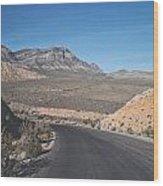 Road In Desert Wood Print