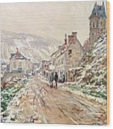 Road In Vetheuil In Winter Wood Print by Claude Monet