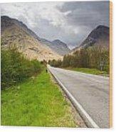 Road Into Glen Coe Wood Print