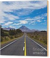 Road Leading To Active Volcanoe Mt Ngauruhoe Nz Wood Print