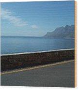 Road Mountain Sea And Sky Wood Print