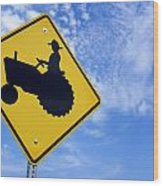Road Sign Tractor Crossing Wood Print