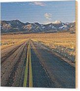 Road Through Desert Wood Print
