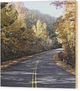 Road To Fall Wood Print