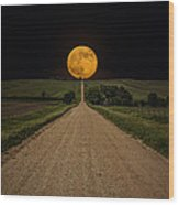 Road To Nowhere - Supermoon Wood Print
