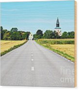 Road To The Village Wood Print