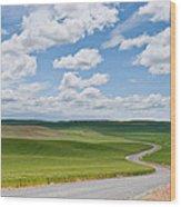 Road Winding Through The Palouse Wheatfields Wood Print