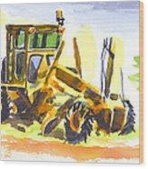 Roadmaster Tractor In Watercolor Wood Print