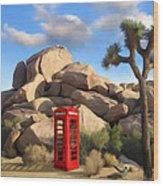 Phone Booth In Joshua Tree Wood Print