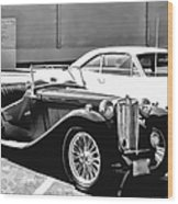 Roadster In Black And White Wood Print