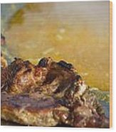 Roasted Steak In Traditional Kotlovina Dish Wood Print