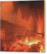 Face In The Fire Wood Print
