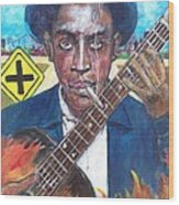 Robert Johnson At The Crossroads Wood Print by Aaron Harvey