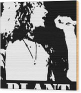 Robert Plant Black And White Pop Art Wood Print