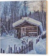 Robert Service Cabin Winter Idyll Wood Print by Priska Wettstein