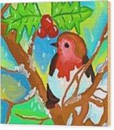 Robin On A Branch Wood Print