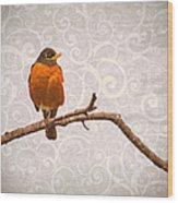 Robin With Damask Background Wood Print