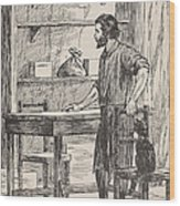 Robinson Crusoe Building Table And Chairs For His Cave Wood Print
