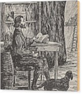 Robinson Crusoe In His Cave Wood Print