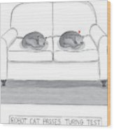 Robot Cat Passes Turing Test Wood Print by Amy Kurzweil