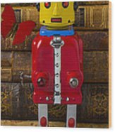 Robot With Butterfly Wood Print