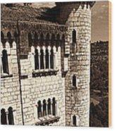 Rocamadour Stone Tower Vertical Panorama Sepia Wood Print