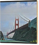 Rock And Golden Gate Wood Print