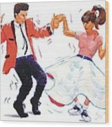 Rock And Roll Dancers Wood Print
