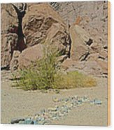 Rock Arrow And Terry Directing Into Ladder Canyon From Big Painted Canyon Trail In Mecca Hills-ca  Wood Print