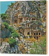 Rock-carved Tombs In Myra-turkey Wood Print