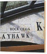 Rock Chalk Ku Wood Print