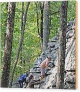 Rock Climbing Youths Wood Print