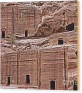 Rock Cut Tombs On The Street Of Facades In Petra Jordan Wood Print