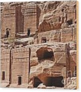 Rock Cut Tombs On The Street Of Facades Petra Jordan Wood Print