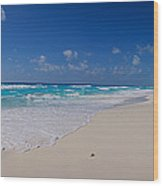 Rock Formation On The Coast, Cancun Wood Print