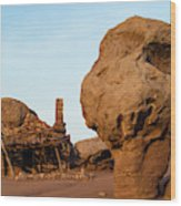 Rock Formations And Abandoned Building Wood Print