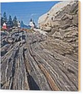 Rock Formations At Pemaquid Point Light Wood Print