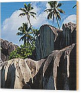 Rock Formations On The Beach, Anse Wood Print