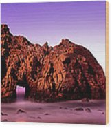 Rock Formations On The Beach, Pfeiffer Wood Print
