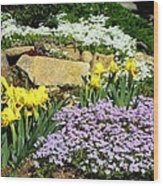 Rock Garden Flowers Wood Print