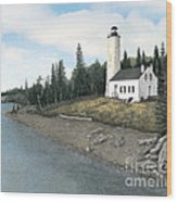 Rock Harbor Lighthouse Wood Print