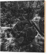 Rock Island Bw Wood Print