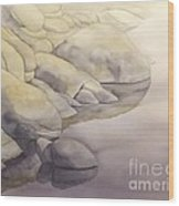 Rock Meets Water Wood Print