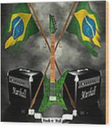 Rock N Roll Crest - Brazil Wood Print by Frederico Borges